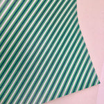 Green Stripes Printed Faux Leather