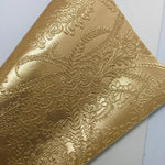 Metallic Gold Embossed Textured Faux Leather
