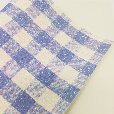 Blue Gingham Fine Glitter Canvas