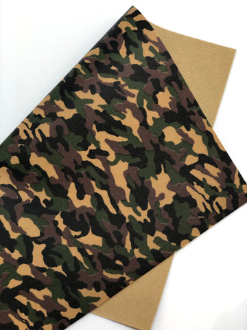 Brown and Green Camo Printed Felt
