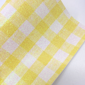 Yellow Gingham Fine Glitter Canvas