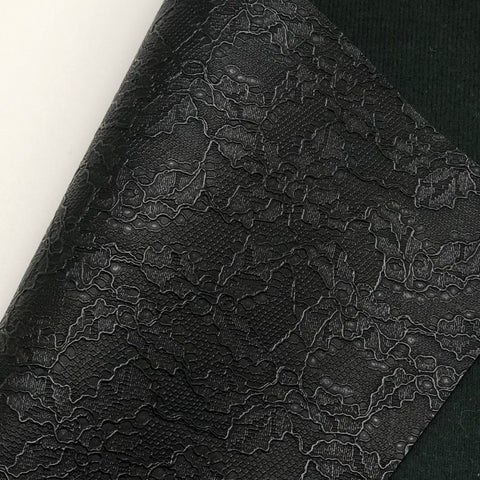 Black Lace Textured Faux Leather