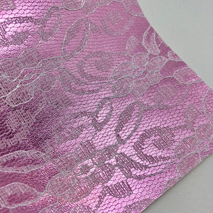 Imperfect Light Pink Lace Textured Faux Leather