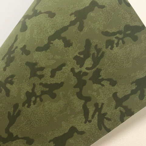 Imperfect Green Camo Print Faux Suede