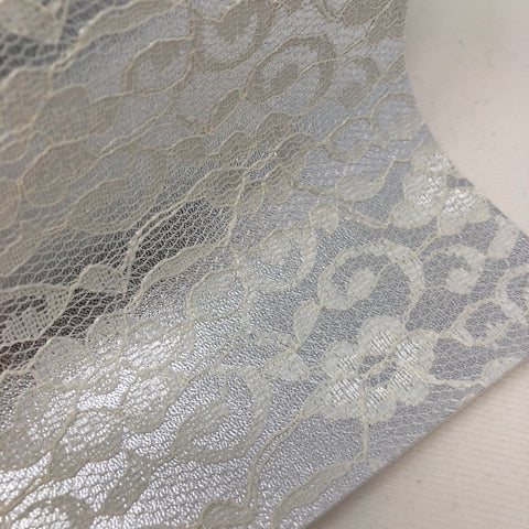 Silver Lace Textured Faux Leather