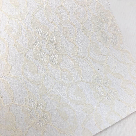 Ivory Lace Textured Faux Leather