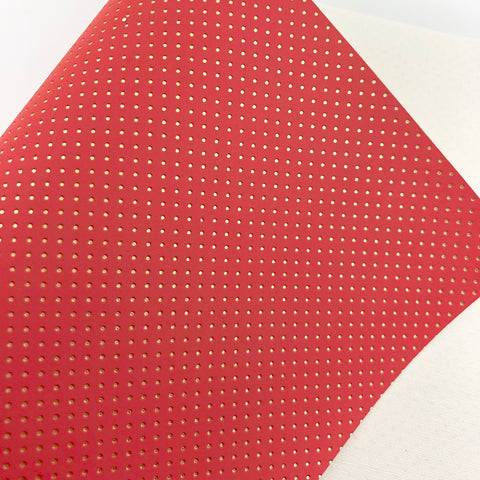 Coral and Gold Embossed Dots Canvas