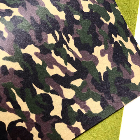 Dark Green Camo Printed Felt