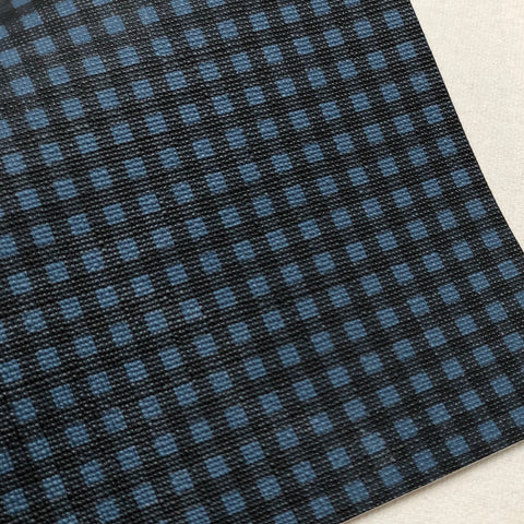 Mini Navy Buffalo Checkered textured Faux Leather