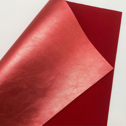 Imperfect Metallic Red Faux Leather