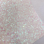 White and Transparent Pink Iridescent Chunky Glitter Sheet