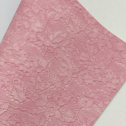Pink Lace Textured Faux Leather