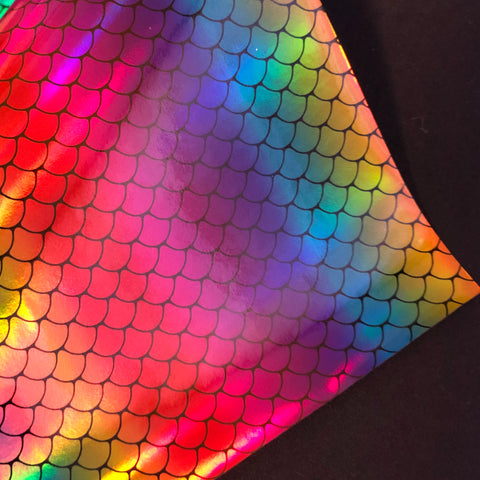 Imperfect Rainbow Mermaid Scales Faux Leather