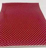 Imperfect Red and White Polka dot printed faux leather