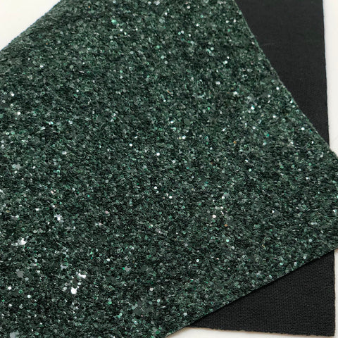 Glassy Dark Green Chunky Glitter Sheet