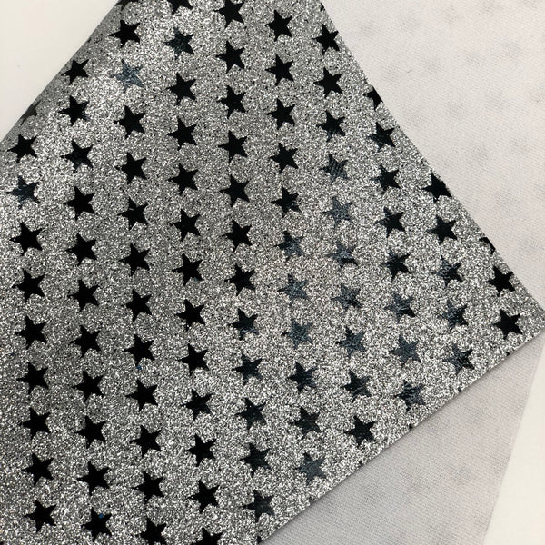 Silver and Black Printed Stars Fine Glitter Sheet
