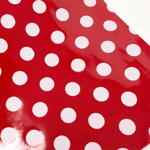 Red and White Polka Dot Patent Faux Leather