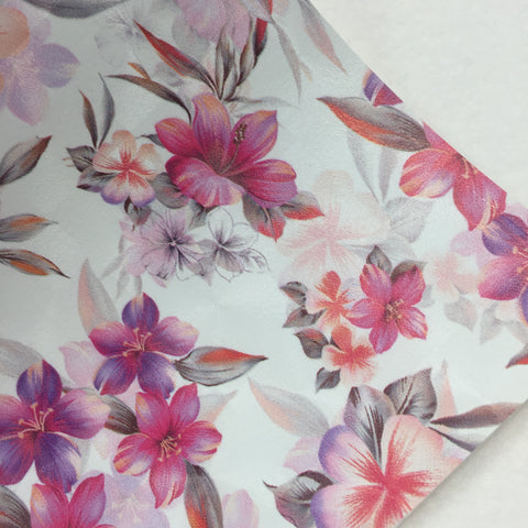 Pink Tropical Floral Faux Leather