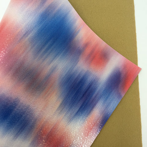 Patriotic Tie Dye Glossy Faux Leather