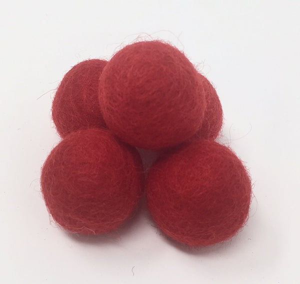 Fire Red Felt Balls 2.5CM