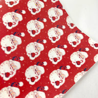 CLOSEOUT Traditional Santa Printed Faux Leather