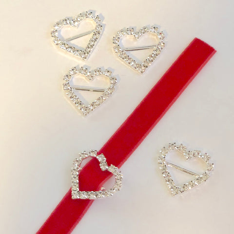 Rhinestone Heart Buckles- choose quantity