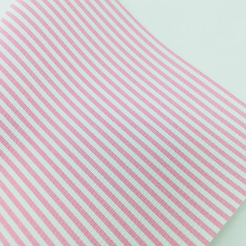 Mini Pink and white Striped Faux Leather