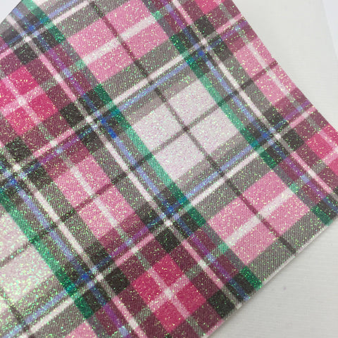Spring Plaid Fine Glitter Canvas
