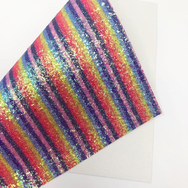Imperfect Dashing Rainbow Stripes Chunky Glitter Sheet