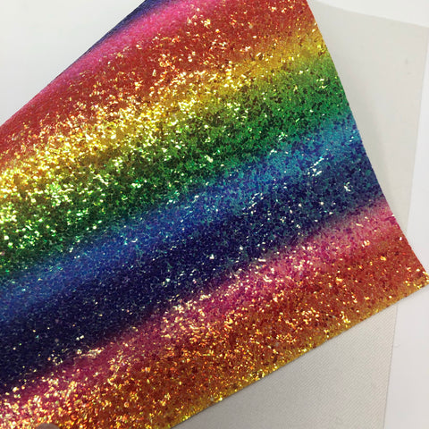 Bright Rainbow Stripes Chunky Glitter Sheet