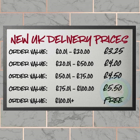 New UK Delivery Prices wef January 3rd 2019