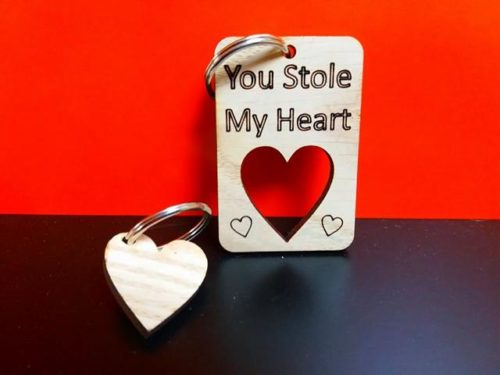 Oak Veneer 'You Stole My Heart' Dual Keyring (2 keyrings 1 Price) - Free Shipping
