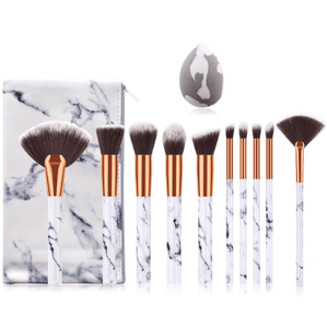10pcs Marble Makeup Brush Set PLUS Sponge and Bag