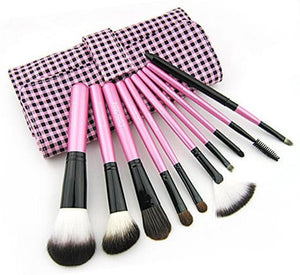 10pcs Pink Makeup Brush Set with Pink-Black Plaid Case