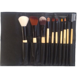 Luxury 10pcs Wooden Handle Makeup Brush Set with Holder