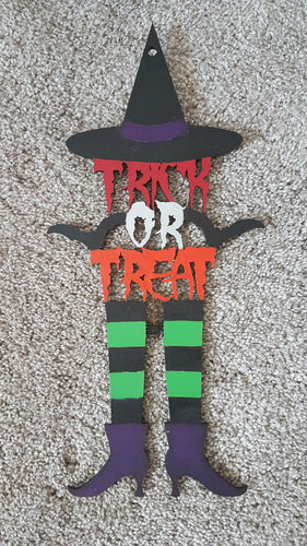 Customisable Wooden Hanging 'Trick or Treat' Witch Sign Head - perfect for Halloween