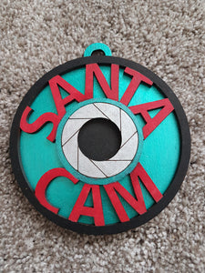 Customisable Wooden 'Santa Cam' Christmas Bauble Decoration