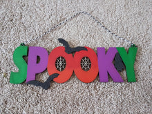 Customisable Wooden Hanging 'Spooky' Sign - perfect for Halloween