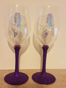 Holographic Mermaid Wine Glasses - Plain or Glitter options available