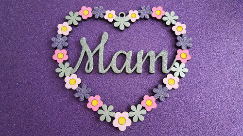 Personalised and Customisable Wooden Flower Heart Sign - Perfect for Mother's Day
