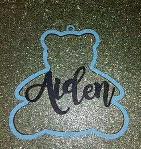 Personalised and Customisable Wooden Teddy Bear Name Decoration/Plaque