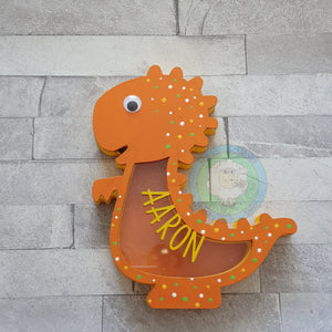 Customisable Wooden Dinosaur (Small Chocolate) Holder - Can be Personalised