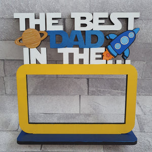Customisable Wooden 'The Best Dad In The Galaxy' Chocolate Bar Holder on a Stand