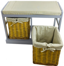 Wooden Seat Bench With 2 Baskets