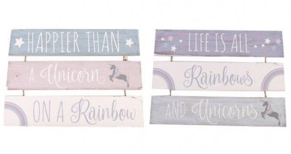 Three Tier Wooden Unicorn Plaque - Choice of two designs