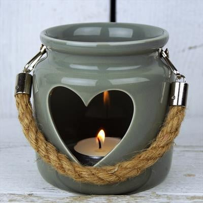 Small Green-Grey Porcelain Heart Tealight Lantern with Rope