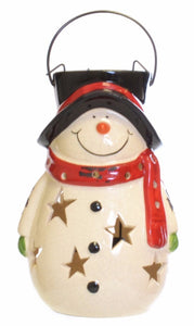 Ceramic Jolly Snowman Christmas lantern with Metal tealight holder