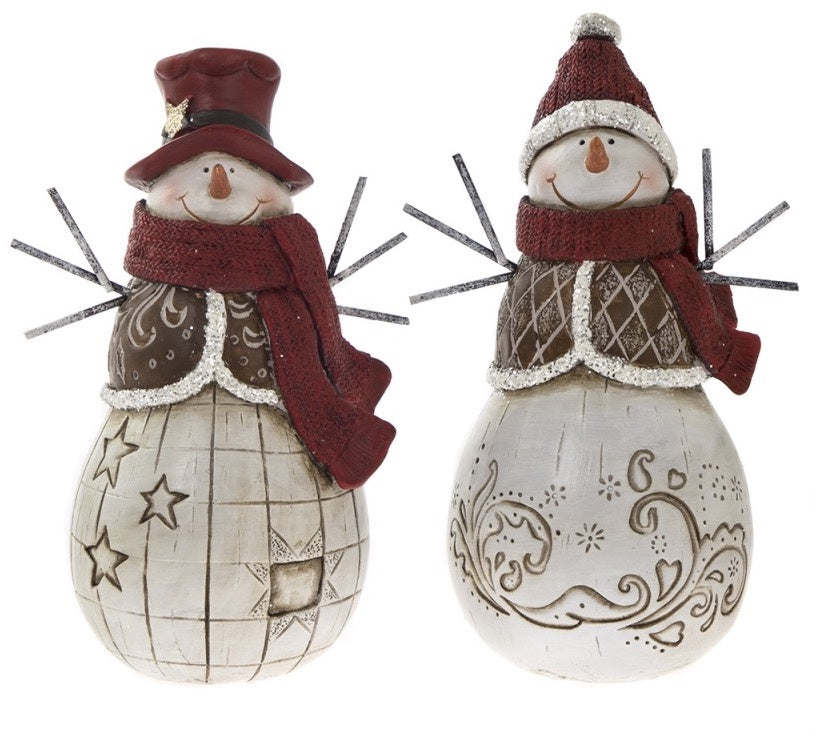 Large Rustic Red Christmas Snowman Ornament - Two Designs Available