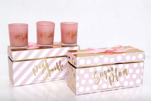 Pink and Gold Scented Candle Pot Set - Two Designs available