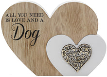 'All You Need is...' Sentiments Wooden Double Heart Block: Love, Cat or Dog